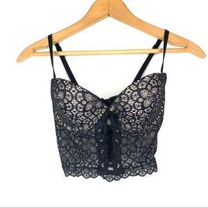 Victoria's Secret Sexy Black Lace Demi Corset